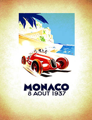 Vintage Sports Cars Photograph - Monaco 1937 by Mark Rogan
