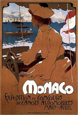 Royalty-Free and Rights-Managed Images - Monaco - Exposition Et Concours - Automobiles - Retro travel Poster - Vintage Poster by Studio Grafiikka