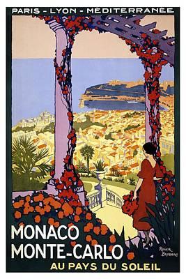 Mixed Media - Monaco Monte-carlo Au Pays Du Soleil - Retro Travel Poster - Vintage Poster by Studio Grafiikka