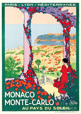 Litho Digital Art - Monaco Monte-carlo Travel Poster 1922 by Vincent Monozlay