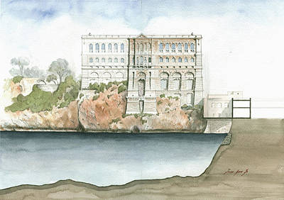Architectural Painting - Monaco Oceanographic Museum by Juan Bosco