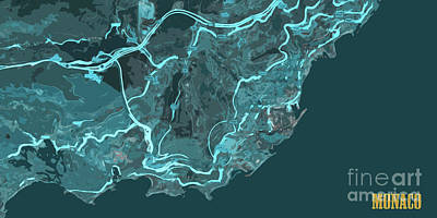 Old Map Digital Art - Monaco Old Abstract Traffic Blue Map by Pablo Franchi