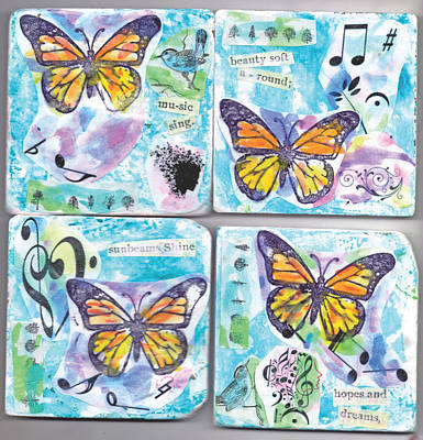 Painting - Monarch Butterflies And Music  Coasters by Genevieve Esson