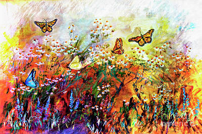 Painting - Monarch Butterflies In Garden by Ginette Callaway