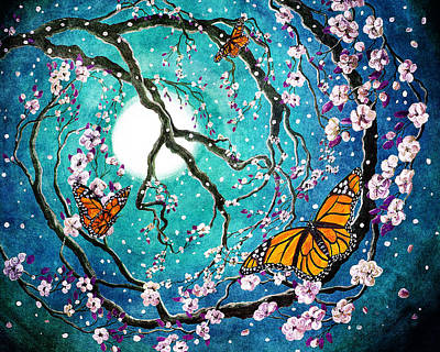 Monarch Butterflies In Teal Moonlight Print by Laura Iverson