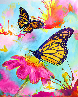 Painting - Monarch Butterflies Pink by Laura Rispoli