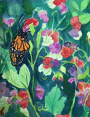 Painting - Monarch Butterfly Amid Sweetpeas by Ellen Levinson