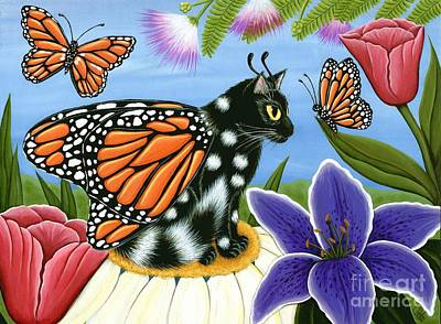 Monarch Butterfly Fairy Cat Art Print