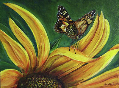 Monarch Butterfly On A Sunflower Art Print by Silvia Philippsohn