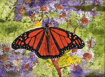 Monarch Butterfly On Purple Flowers Watercolor Batik Original by Conni Schaftenaar