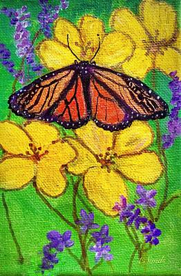 Painting - Monarch Butterfly On Yellow  Flowers by Anne Sands
