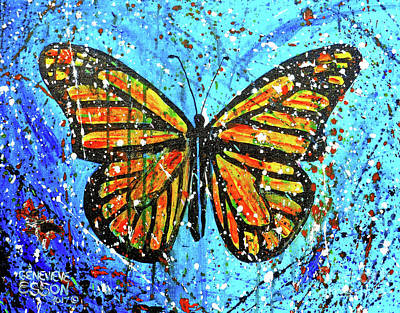 Painting - Monarch Butterfly Spatter Paint by Genevieve Esson