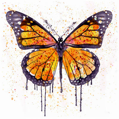 Plum Mixed Media - Monarch Butterfly Watercolor by Marian Voicu
