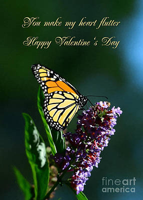Digital Art - Monarch Flutters Valentine by JH Designs