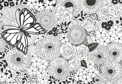 Gerbera Drawing - Monarch Garden by Katerina Kirilova