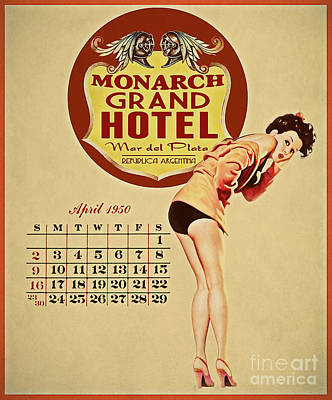 Pinup Girl Painting - Monarch Grand Hotel by Cinema Photography