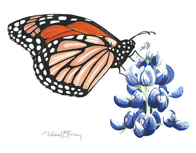 Painting - Blue Bonnet And Monarch by Michael Earney
