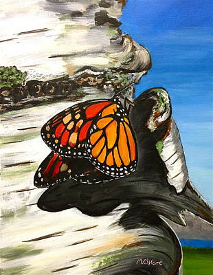 Monarch On Birch Art Print