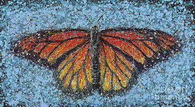 Splashy Painting - Monarch On Blue by Michael Glass