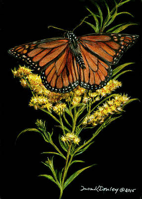 Painting - Monarch On Goldenrod by Susan Donley