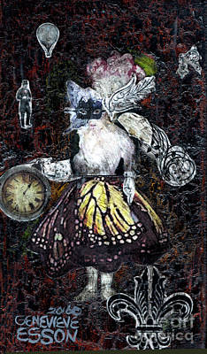 Decoupage Mixed Media - Monarch Steampunk Goddess by Genevieve Esson