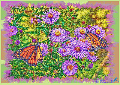 Digital Art - Monarchs And Asters by John Selmer Sr