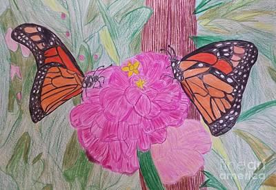 Monarchs On A Flower Original