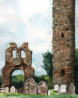 Tim Painting - Monasterboice Ruins Ireland by Timithy L Gordon