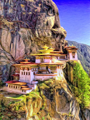 Bhutan Painting - Monastery In Bhutan by Dominic Piperata