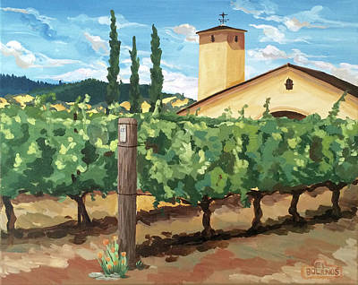 Painting - Mondavi Vineyard, Napa by Elisa Bolanos