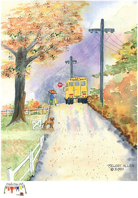 School Bus Painting - Monday Morning by Melody Allen