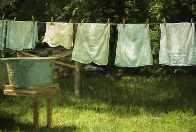 Clothespins Digital Art - Monday Was Wash Day by Patrice Zinck