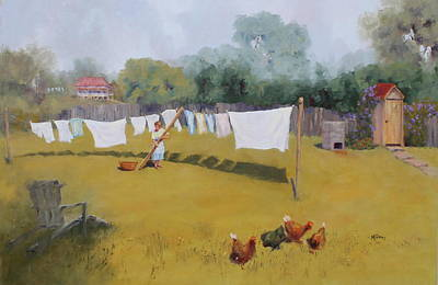 Washday Painting - Monday Washday by Marie Green