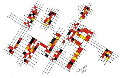 Drawing - Mondrian Called Today by Paul Meinerth