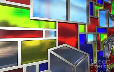 Michael C Geraghty Digital Art - Mondrian Influenced Stained Glass No2 Macro1 Amcg-20160709 by Michael Geraghty