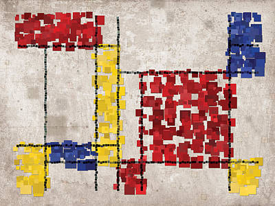 Abstract Digital Art - Mondrian Inspired Squares by Michael Tompsett