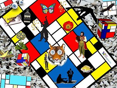 Digital Art - Mondrian Nightmare by Steven Brier