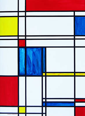 Cat Painting - Mondrian's Cat by Eve Riser Roberts
