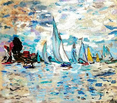 Monet Boats On Water Art Print