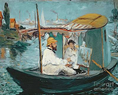 Painting - Monet In His Floating Studio by Edouard Manet