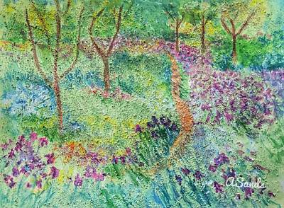 Painting - Monet Inspired Iris Garden by Anne Sands