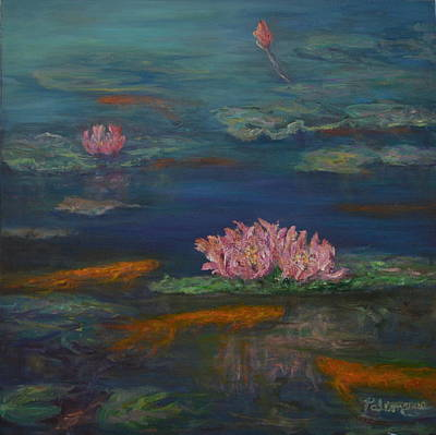 Painting - Monet Inspired Water Lilies With Gold Fish In A Pond by Amber Palomares