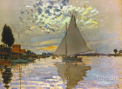 Photograph - Monet: Sailboat by Granger