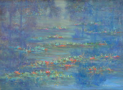 Painting - Monet Style Water Lily Pond Landscape Painting by Amber Palomares