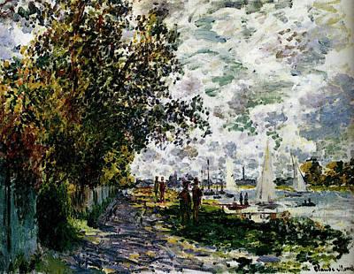 Monet The Riverbank At Gennevilliers Art Print by Claude Monet