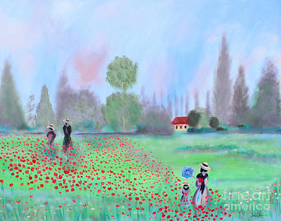 Painting - Monet's Field Of Poppies by Stacey Zimmerman