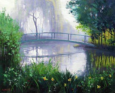 River Scenes Painting - Monet's Garden  by Graham Gercken