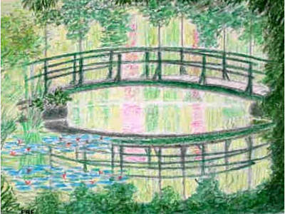 Painting - Monet's Gardens, Giverrny - Reflections by Peter Farrow