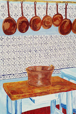 Cooper Pot Painting - Monet's Kitchen by Lorin Zerah