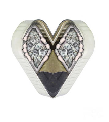 Money And Heart Art Print by Michal Boubin